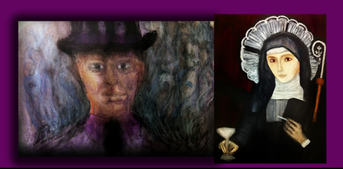 Paintings honoring Baron Samedi and Maman Brigitte by Brother Menfò
